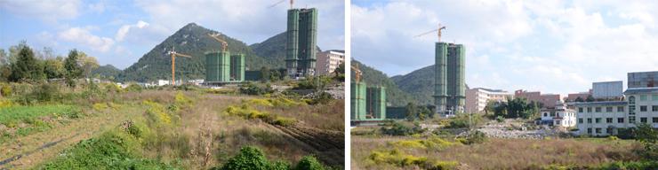 地块现状图片及在建南溪苑1号安置项目