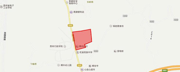 花溪区南溪苑2012H-25(1-2)分块地块百度区位图
